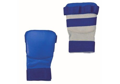karate handbeschermers leder, blauw