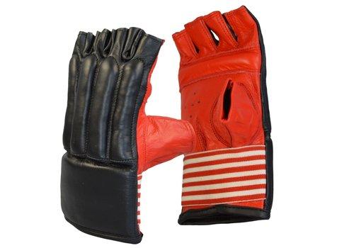 zak handschoenen koeleder open vingers, zwart-rood