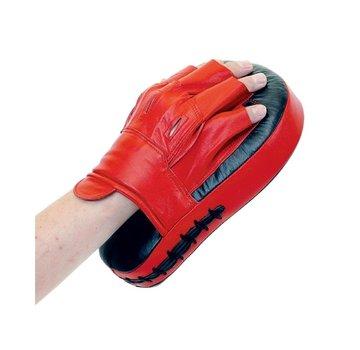 coaching mitts, gebogen, leder, rood+zwart