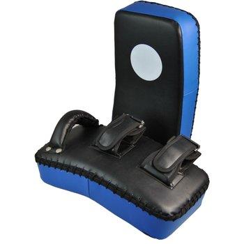 gebogen armpad, ca. 40 x 20 x 8 cm, zwart-blauw