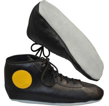 Sambo schoenen, zwart leder, witte zool