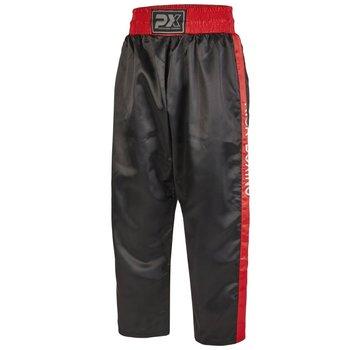 PX kickboksbroek satijn, zwart-rood