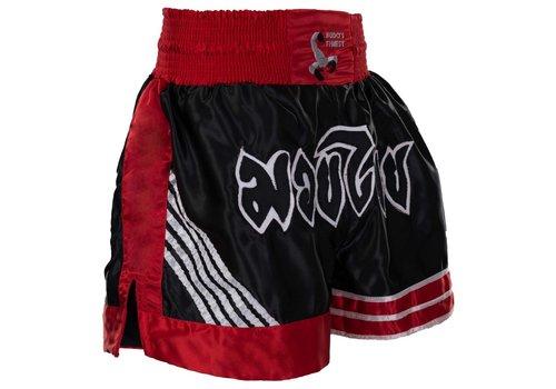 BUDOS FINEST Thai shorts, zwart-rood-wit