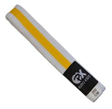 PX Budo kinder soepele vechtsportband, wit-gele