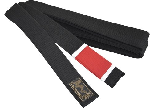 braziliaans jiu jitsu band, zwart met rode streep