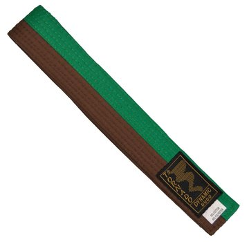 poom vechtsportband, half groene, half bruine