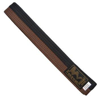poom vechtsportband, half bruine, half zwart