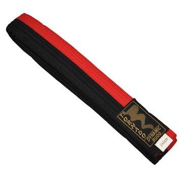 poom vechtsportband, half rood, half zwart