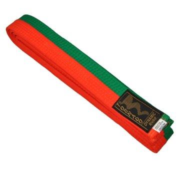 poom vechtsportband, half oranje, half groene