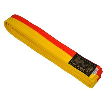 poom vechtsportband, half gele, half oranje