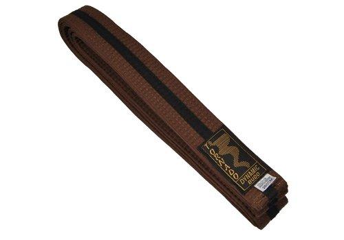 dubbel gekleurde vechtsportband, bruine-zwart streep