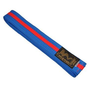 dubbel gekleurde vechtsportband, blauw-rode streep