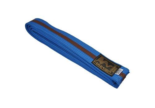 dubbel gekleurde vechtsportband, blauw-bruine streep
