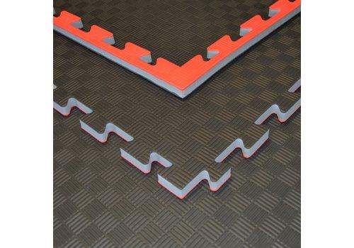 Puzzelmat zwart rood 100x100x2cm - Gratis verzonden