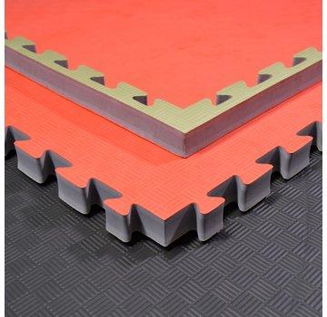Judomat puzzelmat rood groen 100x100x4cm - Gratis verzonden