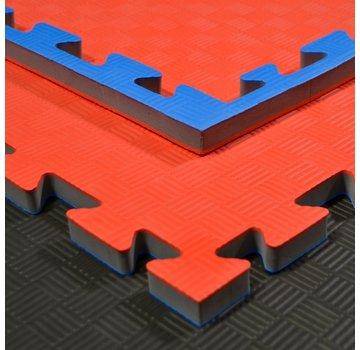 Judomat puzzelmat blauw rood 100x100x2cm - Gratis verzonden