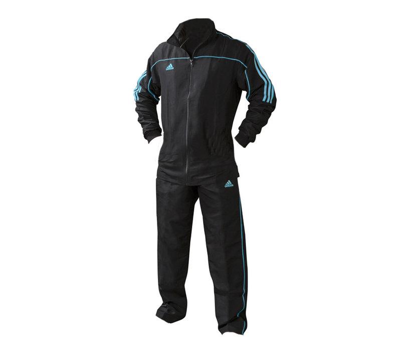 Maat 152  Team Track Trainingsjack Zwart/Blauw (zonder broek)