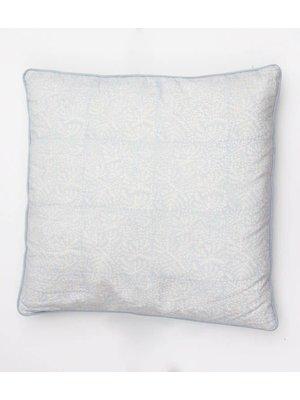 Rozablue Kussen 60x60 Sky gray floral and mint blue velvet