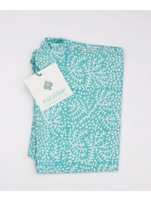 Rozablue Theedoek Floral blue turquoise