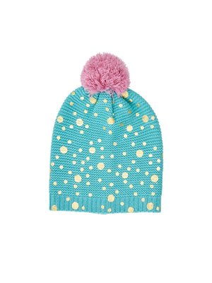 Rice Beanie Green - Gold Dots and Big Pom Pom