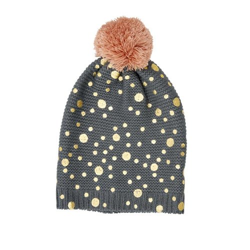 Rice Beanie Grey - Gold Dots and Big Pom Pom