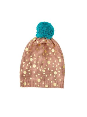 Rice Beanie Nougat Brown - Gold Dots and Big Pom Pom