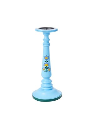 Rice Candle Holder Wood L Blue