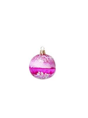 Rice Kerstbal Glitter Fuchsia Raku