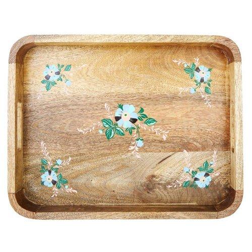 Rice Dienblad met Bloemen hout