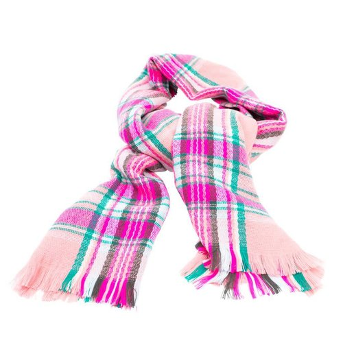 Rice Sjaal Tartan Dusty Pink