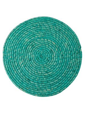 Rice Placemat Raffia rond Turquoise