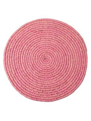 Rice Placemat Raffia Rond Soft Roze