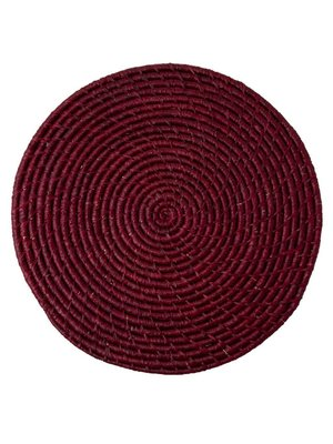 Rice Placemat Raffia rond Bordeaux