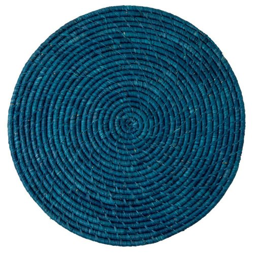 Rice Placemat Raffia rond Donker Blauw