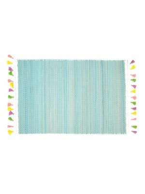 Rice Placemat Bamboo Kwastjes lichtblauw