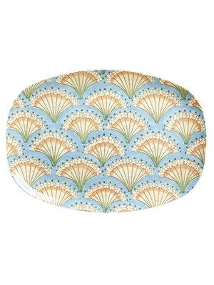 Rice Melamine ovaal bord Flower Fan