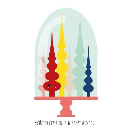 Kerstkaart Merry Everything - stolp