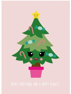 Kerstkaart Merry Everything Happy Always