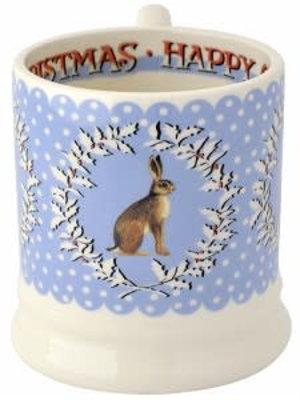 Emma Bridgewater 0.5 pt Mug Chrismas tWreath Hare