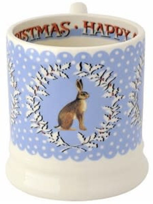 Emma Bridgewater 0.5 pt Mug Chrismas Wreath Hare