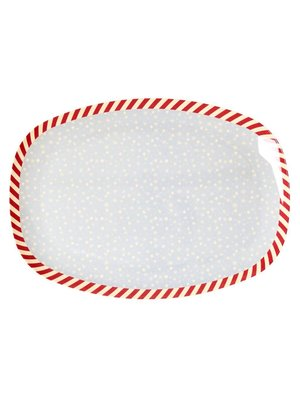 Rice Melamine Rectangular Plate Snowflake