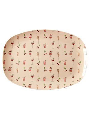 Rice Melamine ovaal bord small Pink Cocktail
