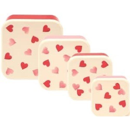 Emma Bridgewater Melamine Snackdoos s/4 Pink Hearts