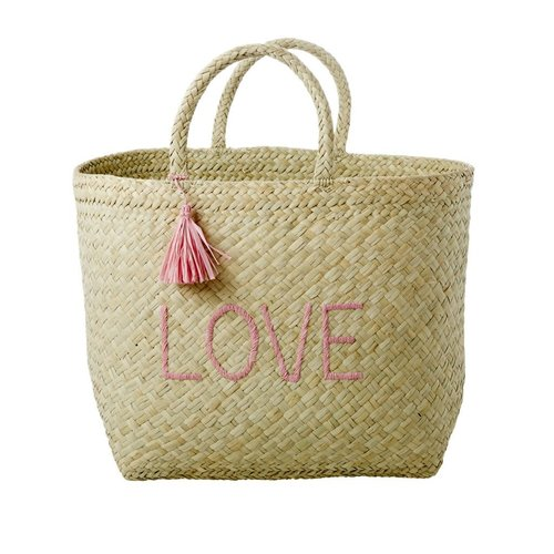 Rice Shopper raffia Nature met Soft Pink 'LOVE'