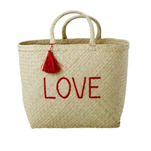 Rice Shopper raffia Nature met Red 'LOVE'