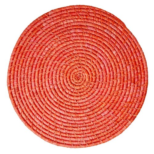 Rice Placemat Raffia rond Rood