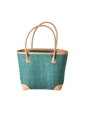 Rice Shopper met Leren details Jadegroen M
