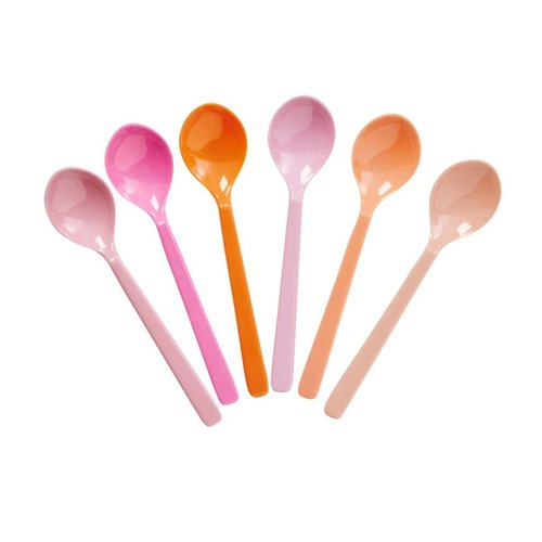 Rice Melamine korte lepels ass Pink & Orange set/6