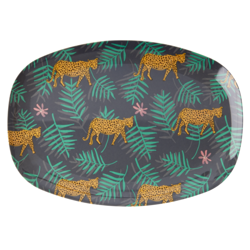 Rice Melamine ovaal bord Leopard and Leaves