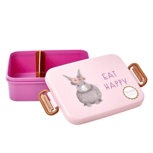 Rice Lunchbox met divider Farm Animals roze